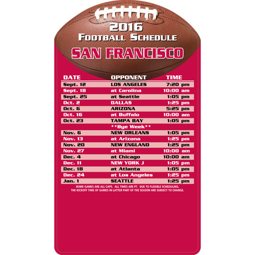Football Schedule Magnet San Francisco 49ers