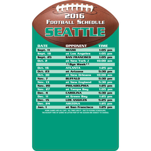 Football Schedule Magnet Seattle Seahawks