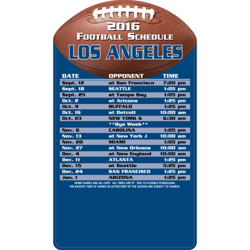 Football Schedule Magnet St. Louis Rams