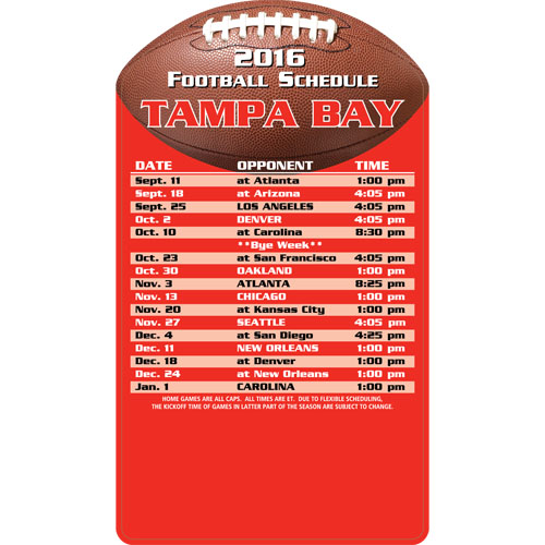 Football Schedule Magnet Tampa Bay Buccaneers