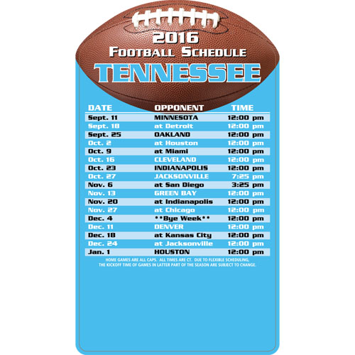 Football Schedule Magnet Tennessee Titans