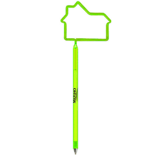 House Shaped Pen Translucent Lime Green