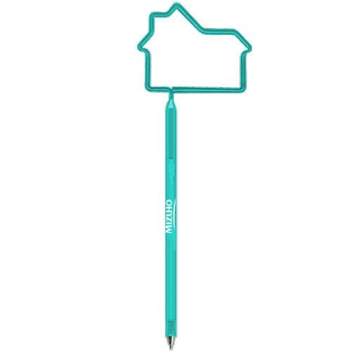 House Shaped Pen Translucent Teal