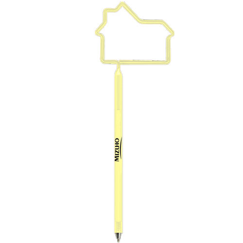 House Shaped Pen Clear Yellow